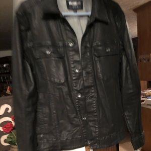 Men's William Rast Black Coated Jean Jacket